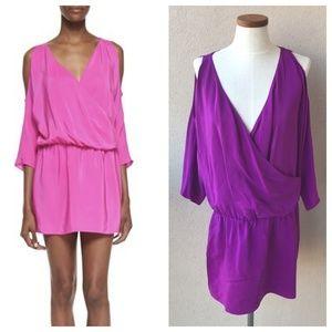 Amanda Uprichard Cold Shoulder Draped Silk Dress